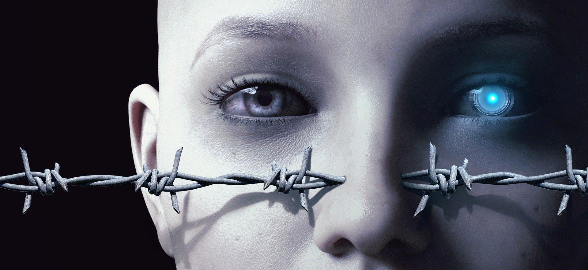 Gesicht eines Androiden. Ausschnitt der Augen-Nase-Partie. Ein Auge ist menschliche, das andere künstlich. Stacheldraht durchstößt die Nase.
