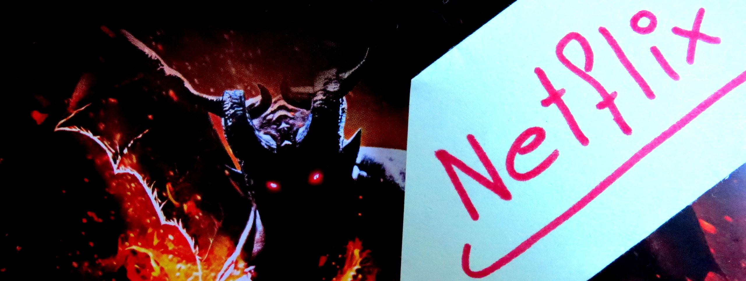 """Ausschnitt des Covers des Videospiels """"Dragon's Dogma"""" mit der handgeschriebenen Notiz """"Netflix"""""""