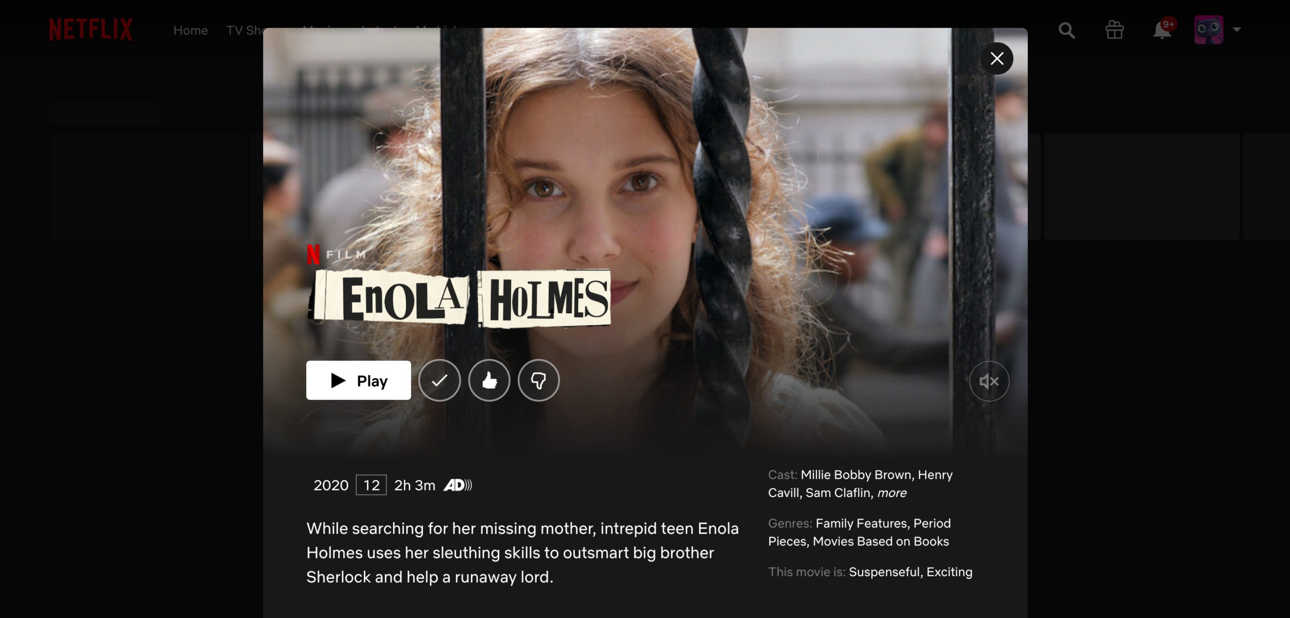 Screenshot der Enola Holmes Netflix Page | https://www.netflix.com/title/81277950