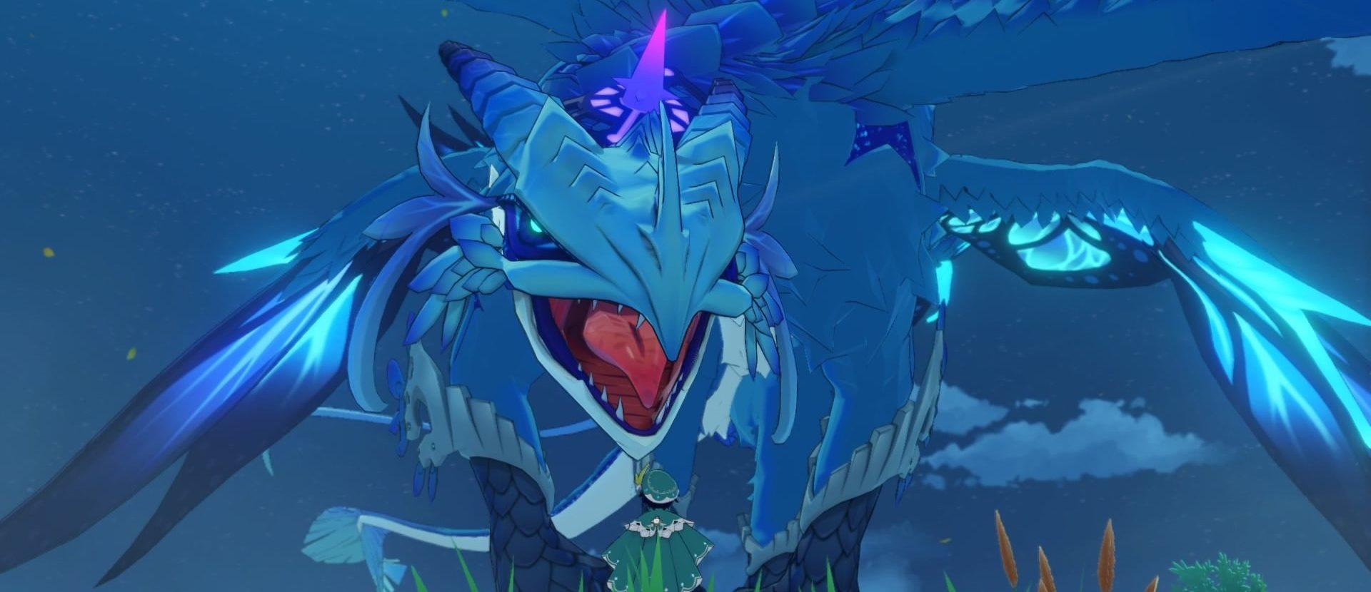 Genshin Impact: Ein blau schillernder Drache im Anime-Zeichenstil, davor eine grün gekleidete Person