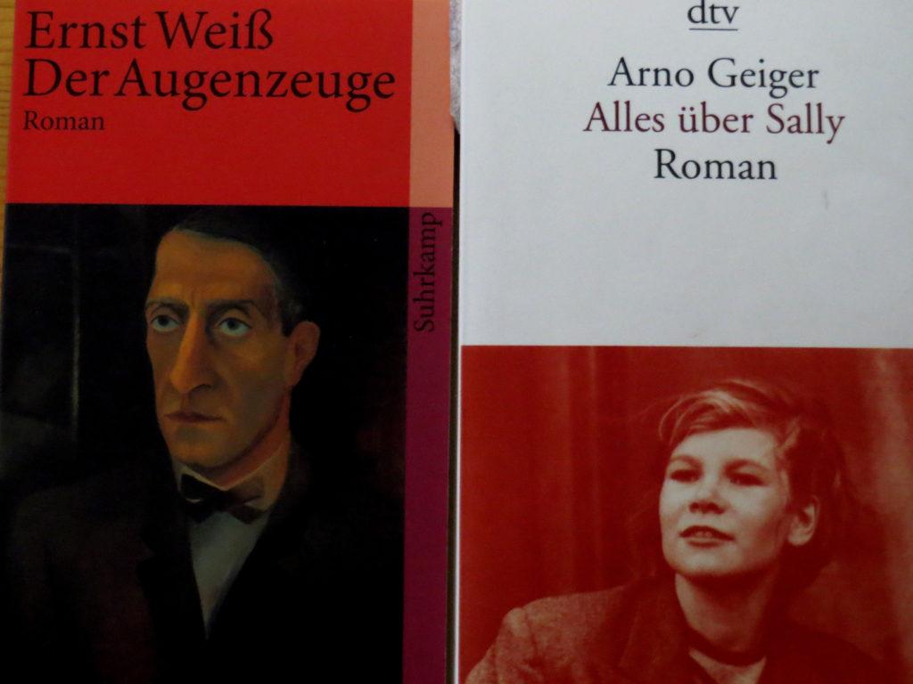 """Buchcover: """"Der Augenzeuge"""" von Ernst Weiß & """"Alles über Sally"""" von Arno Geiger"""