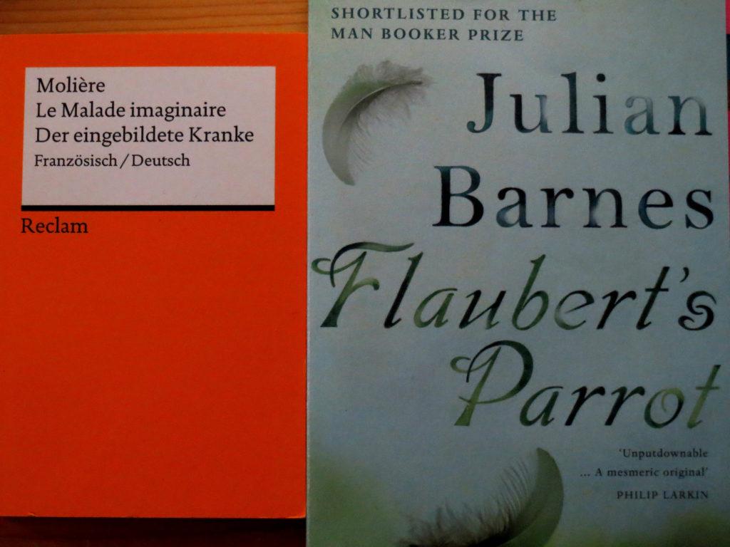 """Buchcover: """"Le Malade imaginaire"""" von Molière & """"Flaubert's Parrot"""" von Julian Barnes"""