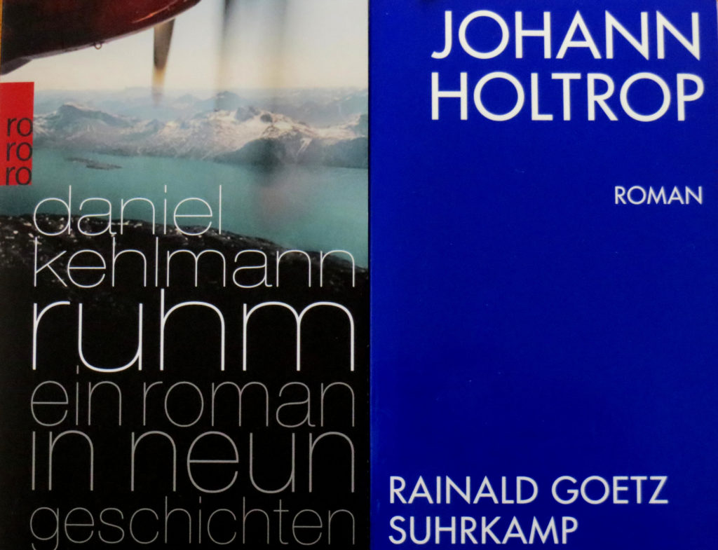 """Buchcover: """"Ruhm"""" von Daniel Kehlmann und """"Johan Holtrop"""" von Reinald Goetz"""