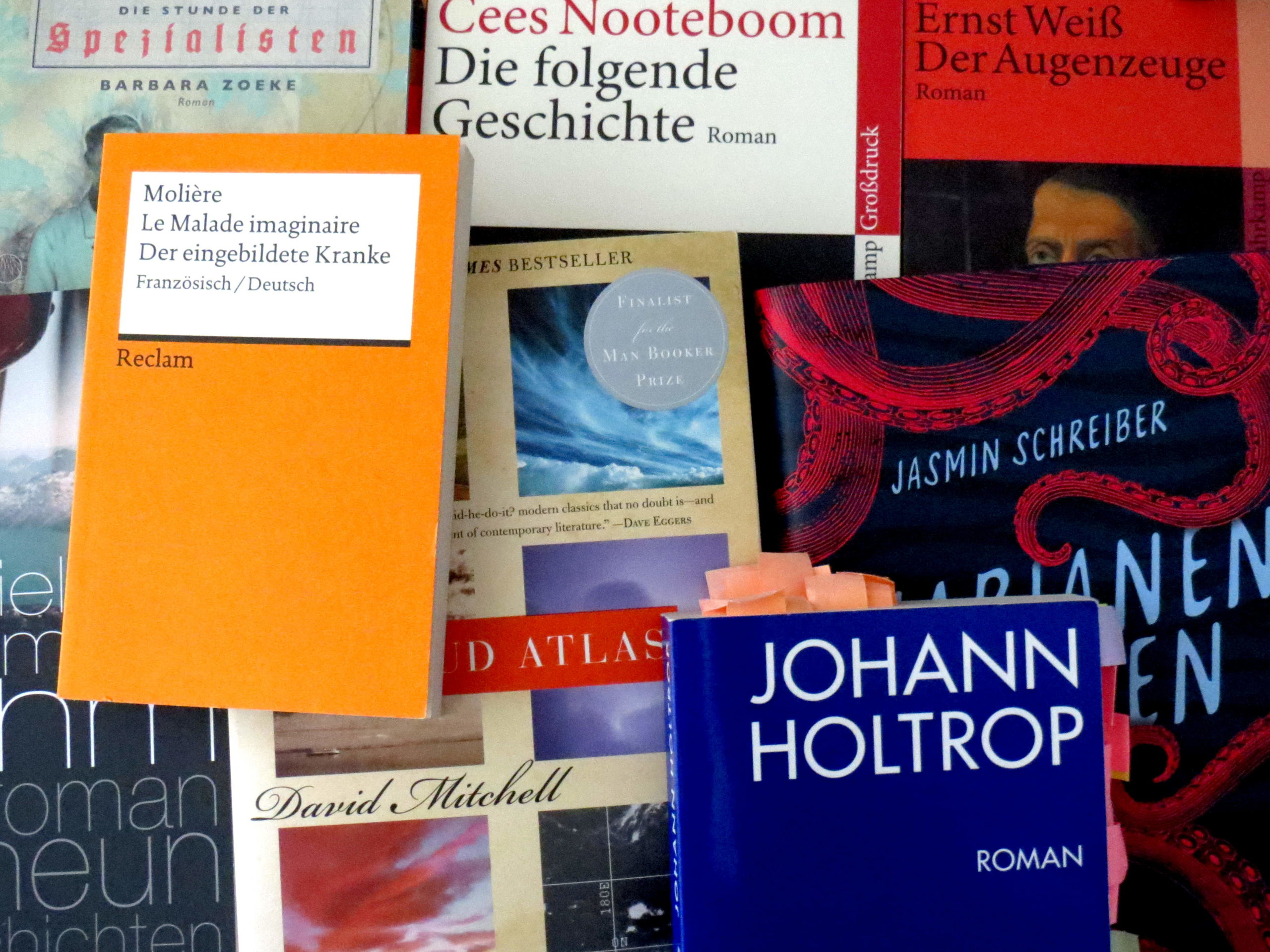 """Ein Haufen Bücher: """"Die Stunde der Spezialisten"""", """"Ruhm"""", """"Der eingebildete Kranke"""", """"Johann Holtrop"""", """"Cloud Atlas"""", """"Marianengraben"""", """"Die folgende Geschichte"""", """"Der Augenzeuge"""""""