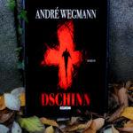 """E-Book """"Dschinn"""" von André Wegmann. Zu sehen auf einem Tablet, das an einer Steinwand lehnt, am Boden liegen herbstliche Blätter."""