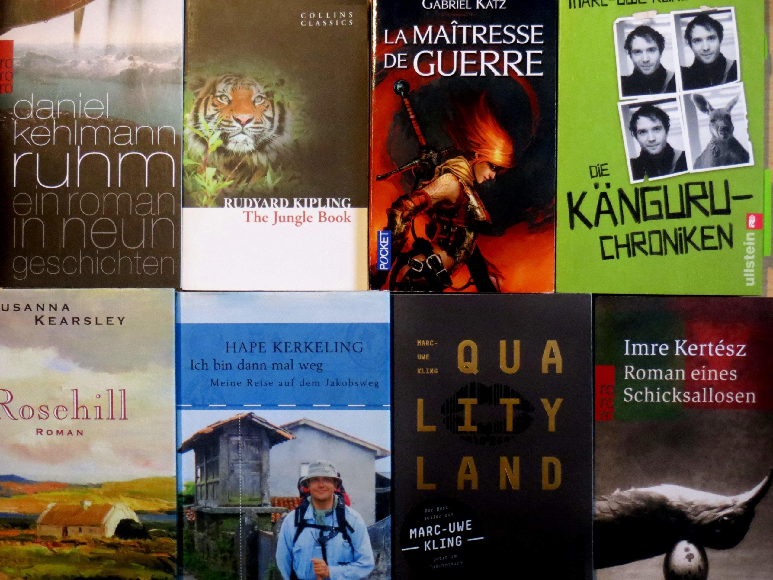 "Daniel Kehlmann ""Ruhm"", Rudyard Kipling ""The Jungle Book"", Gabriel Katz ""La Maîtresse de Guerre"", Marc-Uwe Kling ""Die Känguru-Chroniken"", Susanna Kearsley ""Rosehill"", Hape Kerkeling ""Ich bin dann mal weg"", Marc-Uwe Kling ""QualityLand"", Imre Kertész ""Roman eines Schicksallosen"""